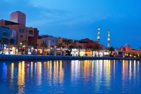 Hurghada Marina at nigth in Egypt.