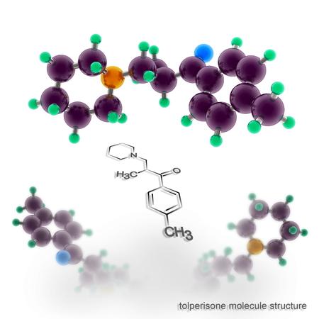 tolperisone, mydocalm molecule structure. Three dimensional model render