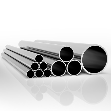 Folded industrial metal pipes of different sizes at white background