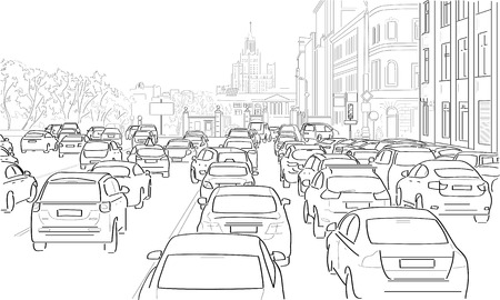 Traffic jam of cars on the main street