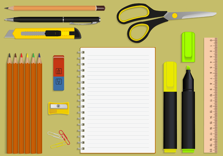 Illustration pour set of office supplies and stationery notebook - image libre de droit