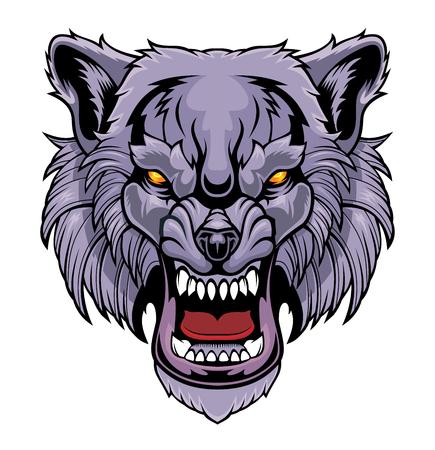 Illustration pour Head of a growling wolf. - image libre de droit