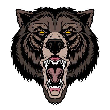 Illustration pour Roaring bear head mascot. - image libre de droit