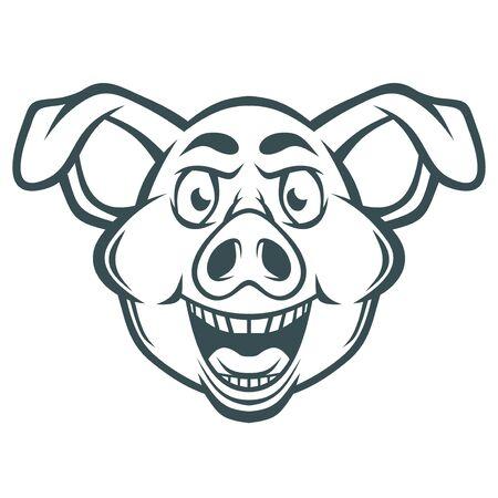 Illustration pour Funny crazy pig face. - image libre de droit