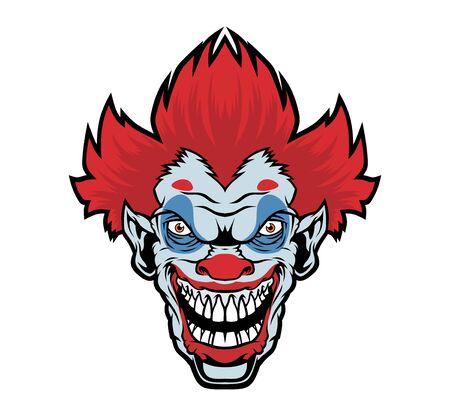 Illustration pour Evil cartoon clown illustration. - image libre de droit