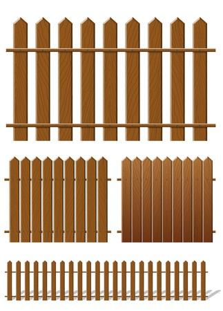 Illustration pour Brown fence with wooden texture - image libre de droit