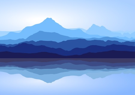 Illustration pour View of blue mountains with reflection in lake - image libre de droit