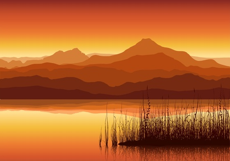 Illustration pour Sunset in huge mountains near lake with grass - image libre de droit