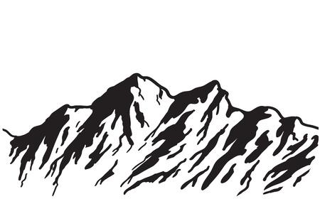 Illustration pour Mountain range isolated on white illustration  - image libre de droit