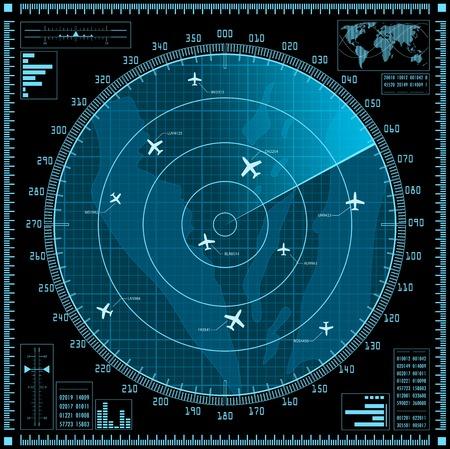 Ilustración de Blue radar screen with planes.  - Imagen libre de derechos