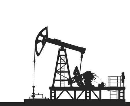 Ilustración de Oil pump silhouette isolated on white background. Detailed vector illustration. - Imagen libre de derechos
