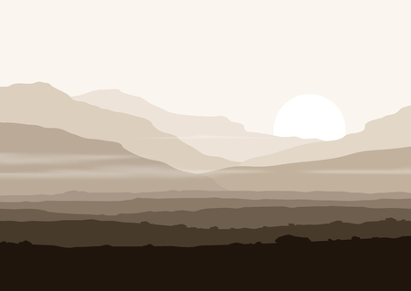 Lifeless landscape with huge mountains over sun. Vector panorama eps10.