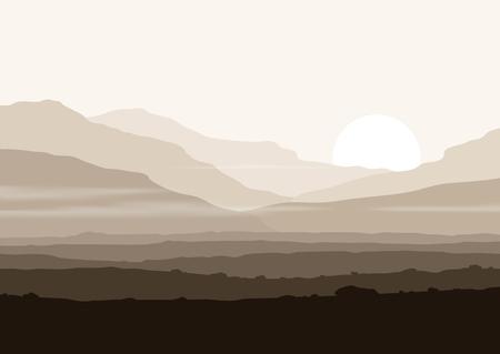 Foto de Lifeless landscape with huge mountains over sun. Vector panorama eps10. - Imagen libre de derechos