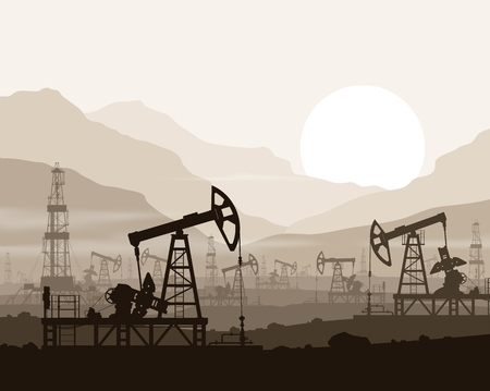 Oil pumps and rigs at large oilfield over  sunset in huge mountains. Detail vector illustration.