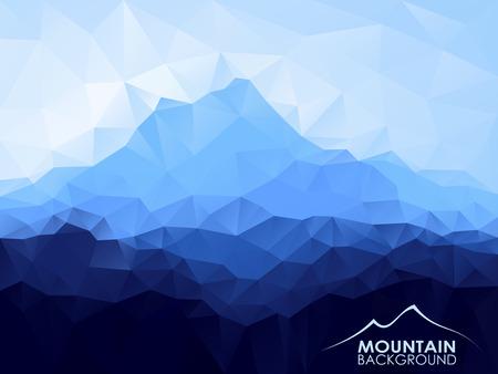 Illustration pour Triangle geometrical background with blue mountain range - image libre de droit