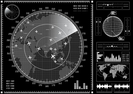 Illustration pour Radar screen with planes and futuristic user interface HUD.  Black and white infographic elements. Vector illustration. - image libre de droit