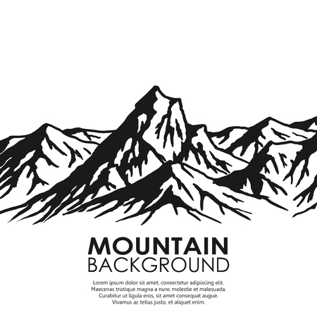 Illustration pour Mountain range isolated on white background. Black and white huge mountains. Vector illustration with copy-space. - image libre de droit