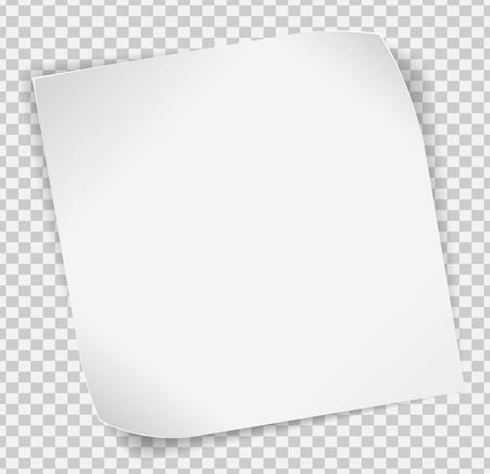 Illustration pour White paper curled sticker with shadows over transparent background. - image libre de droit