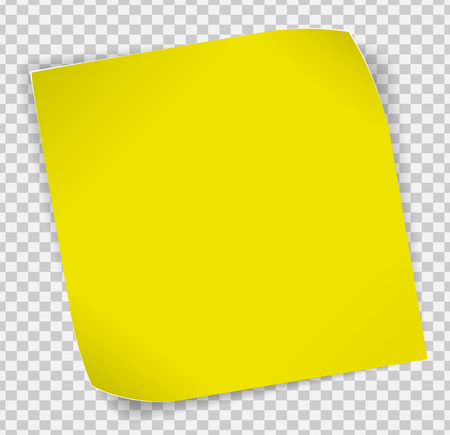 Illustration pour Yellow paper curled sticker with shadows over transparent background. - image libre de droit
