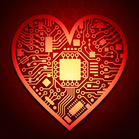 Cyber technology heart. Valentines day red background with love symbol. Vector illustration.