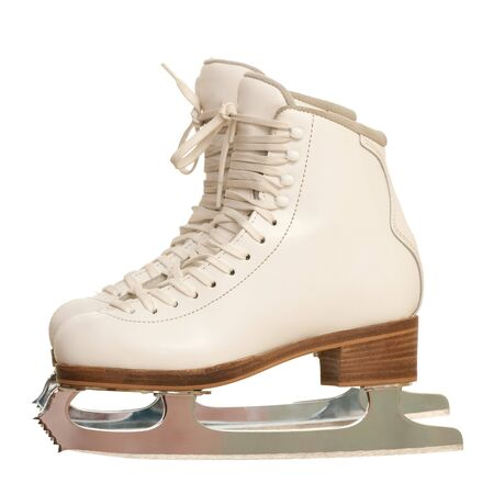 A pair of white girl figure skates; isolated on the white background