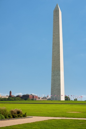 View of the Washington Monument against the blue sky in Washington, USA; GPS information is in the file
