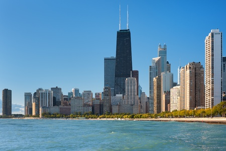 View of the city of Chicago from Michigan lake; GPS information is in the file
