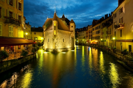 Wonderful view of night Annecy and Palais de l