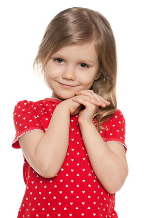 Cute preschool girl on the white background