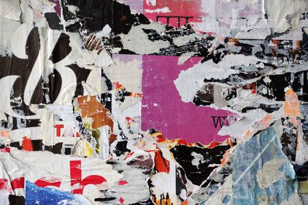 Photo pour Colorful torn posters on grunge old walls as creative and abstract background - image libre de droit