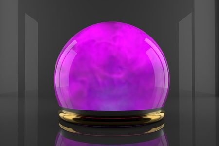 Crystal ball with fume particles motion. Cyan color gas inside a glass sphere. Design of liquid luminous smoke.
