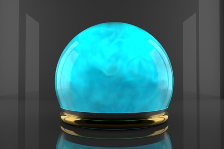 Crystal ball with fume inside and particles motion. Cyan color gas inside a glass sphere. Design of liquid luminous smoke.