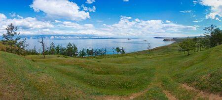 Northwest shore of island Olkhon on lake Baikal. A panorama of Small Sea from village Harantsy