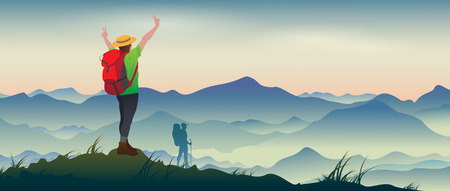 Illustration pour The real picture of happy tourists with backpacks on the background of a mountain landscape. - image libre de droit