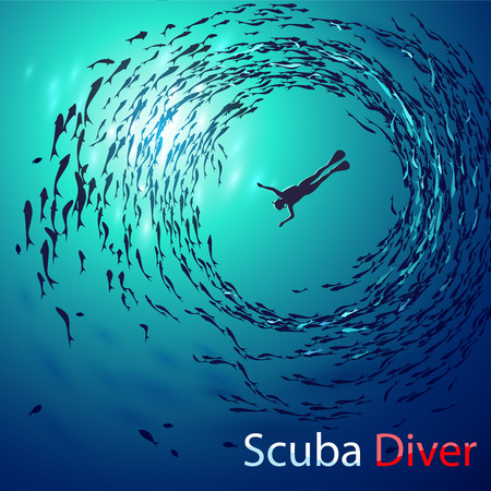 Illustration pour Creative illustration on the theme of diving. Image diver under water is surrounded shoals of fish (bottom view). With inscription: Scuba Diver - image libre de droit