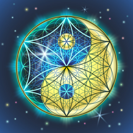 Ilustración de Creative vector illustration of the symbol and sign of yin yang and FLOWER OF THE LADY. Sacred geometry of a bright, colorful blue-yellow sign on the background of the starry sky. - Imagen libre de derechos