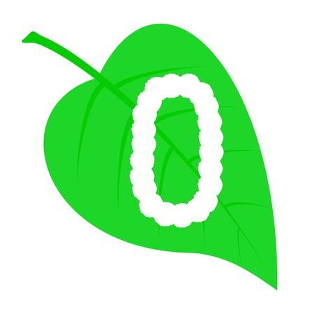 Figure zero on a green leaf.