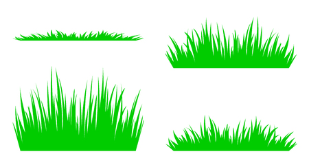 Set of silhouettes of green grass.