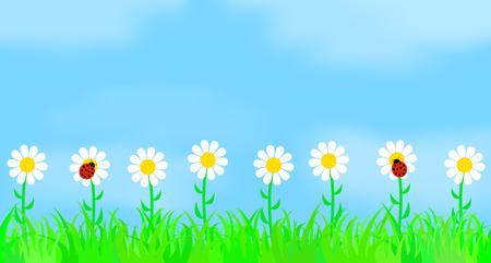 Illustration pour Flowers on the background of the sky. Vector illustration. - image libre de droit