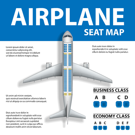 Ilustración de Banner, poster, flyer with Airplane Seat Map. Plane Business and Economy Class and Place for Text. Vector illustration - Imagen libre de derechos