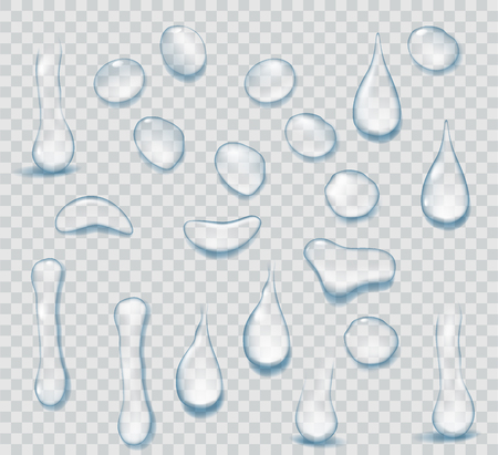 Ilustración de Pure clear water drops realistic set isolated on transparent background. Realistic water background with drops. - Imagen libre de derechos