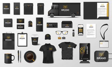 Illustration pour Corporate Branding identity template design. Modern Stationery mockup black and gold color. - image libre de droit