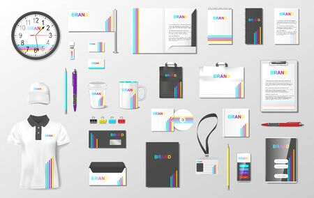 Illustration pour Corporate identity template mockup. Realistic Business Stationery mockup for shop. Brand Fresh color abstract geometric design on uniform, pack. Vector EPS 10 - image libre de droit