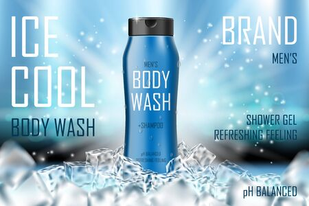 Illustration pour Cooling men body wash gel with ice cubes elements. Realistic body wash ad for cosmetic advertising poster design. 3d vector illustration - image libre de droit