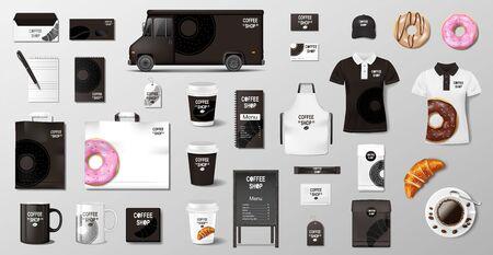 Illustration pour Realistic mockup for Bakery shop, Restaurant, Cafe. Corporate style Bakery food package mockup. Set of cup, pack, uniform, shirt, donut, croissant, paper bag - image libre de droit