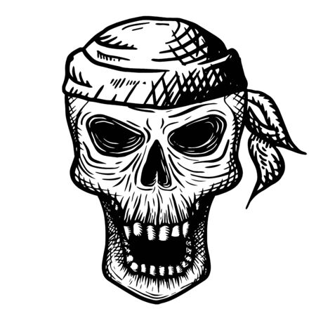 Illustration pour Hand drawn skull of a dead man in a bandana, on a white background. Vector illustration - image libre de droit