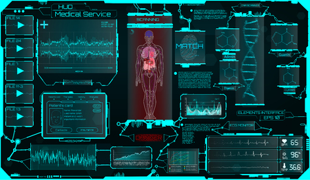 Illustration pour Hud Ui Elements Medical Science, a Virtual Graphic Touch Interface With Illustrations of Human Scanning and the Update of His Illnesses. HUD, Sci, Medical Interface, Data, Infographic and DNA Formula - image libre de droit