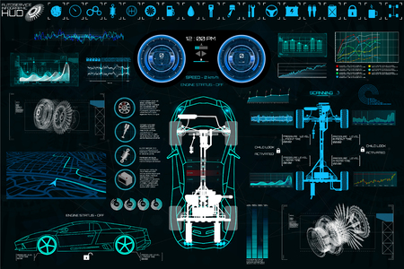 Ilustración de Car Auto Service, Modern Design HUD, Diagnostic Auto (view from above) Virtual Graphical Interface in Modern Style (Infographics, Auto Scanning, Analysis and Diagnostics) HUD Vector Set Elements - Imagen libre de derechos