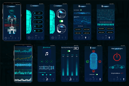 Ilustración de Control Car app. Mobile interface screens to operate the car. The smartphone controls the car security on the wireless and shows the data to the owner, the level of protection, state of auto. IOT - Imagen libre de derechos
