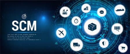 Illustration pour SCM - Supply Chain Management, Aspects of Modern Company Logistics Processes, business challenges design  company symbol with various business facets - image libre de droit